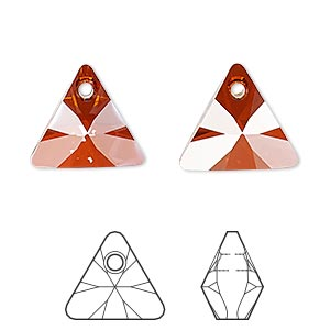 drop, swarovski crystals, crystal passions, crystal red magma, 16mm xilion triangle pendant (6628). sold per pkg of 6.
