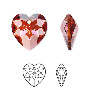 drop, swarovski crystals, crystal passions, crystal red magma, 18x17mm faceted heart pendant (6215). sold individually.