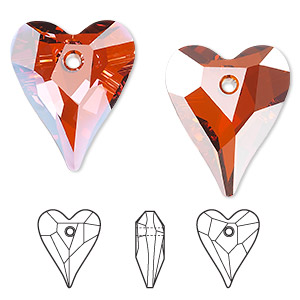 drop, swarovski crystals, crystal passions, crystal red magma, 27x22mm faceted wild heart pendant (6240). sold individually.