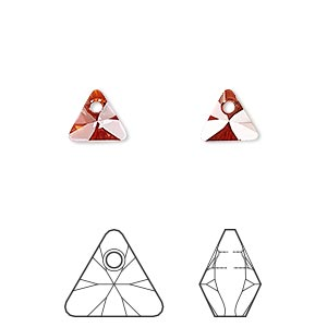 drop, swarovski crystals, crystal passions, crystal red magma, 8mm xilion triangle pendant (6628). sold per pkg of 6.
