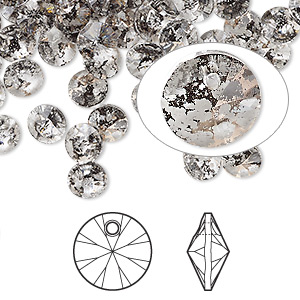drop, swarovski crystals, crystal passions, crystal rose patina, 6mm xilion rivoli pendant (6428). sold per pkg of 144 (1 gross).