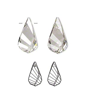 drop, swarovski crystals, crystal passions, crystal silver shade, 18x10mm faceted helix pendant (6020). sold per pkg of 6.
