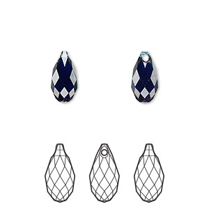 drop, swarovski crystals, crystal passions, dark indigo, 11x5.5mm faceted briolette pendant (6010). sold per pkg of 24.