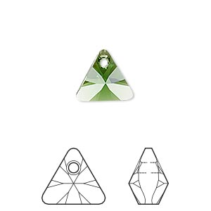drop, swarovski crystals, crystal passions, dark moss green, 12mm xilion triangle pendant (6628). sold per pkg of 12.