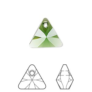 drop, swarovski crystals, crystal passions, dark moss green, 16mm xilion triangle pendant (6628). sold per pkg of 6.