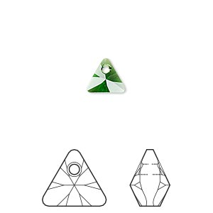 drop, swarovski crystals, crystal passions, dark moss green, 8mm xilion triangle pendant (6628). sold per pkg of 24.
