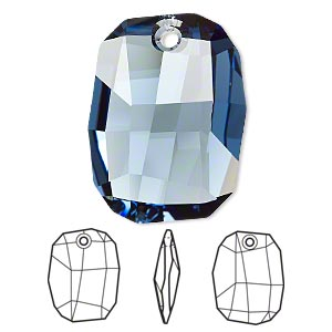 drop, swarovski crystals, crystal passions, denim blue, 28x21mm faceted graphic pendant (6685). sold individually.