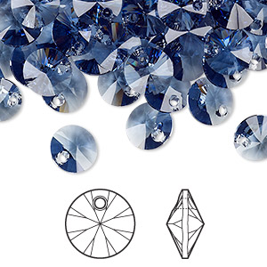 drop, swarovski crystals, crystal passions, denim blue, 8mm xilion rivoli pendant (6428). sold per pkg of 12.