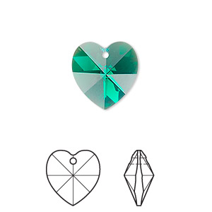 drop, swarovski crystals, crystal passions, emerald ab, 14x14mm xilion heart pendant (6228). sold individually.