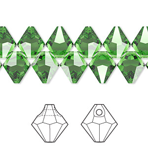 drop, swarovski crystals, crystal passions, fern green, 8mm faceted bicone pendant (6301). sold per pkg of 12.