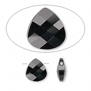 drop, swarovski crystals, crystal passions, jet, 11x10mm faceted puffed briolette pendant (6012). sold per pkg of 24.