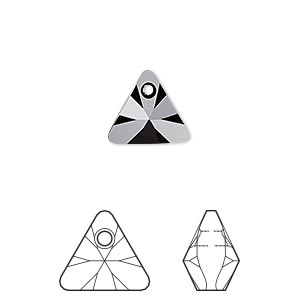 drop, swarovski crystals, crystal passions, jet, 12mm xilion triangle pendant (6628). sold per pkg of 2.