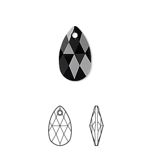 drop, swarovski crystals, crystal passions, jet, 16x9mm faceted pear pendant (6106). sold per pkg of 24.