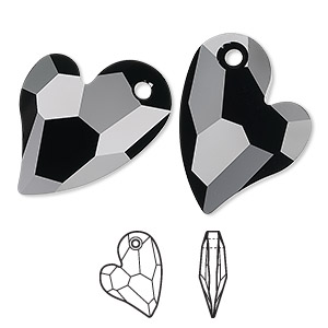 drop, swarovski crystals, crystal passions, jet, 27x20mm faceted devoted 2 u heart pendant (6261). sold individually.