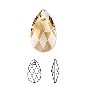 drop, swarovski crystals, crystal passions, light colorado topaz, 22x13mm faceted pear pendant (6106). sold per pkg of 24.