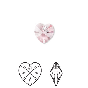drop, swarovski crystals, crystal passions, light rose, 10x10mm xilion heart pendant (6228). sold per pkg of 24.
