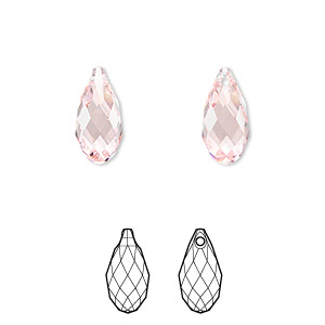 drop, swarovski crystals, crystal passions, light rose, 13x6.5mm faceted briolette pendant (6010). sold per pkg of 24.