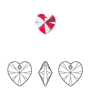 drop, swarovski crystals, crystal passions, light siam shimmer, 10mm xilion heart pendant (6228). sold per pkg of 24.