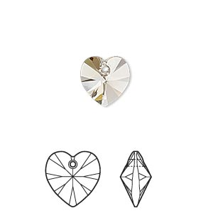 drop, swarovski crystals, crystal passions, light silk, 10x10mm xilion heart pendant (6228). sold per pkg of 2.