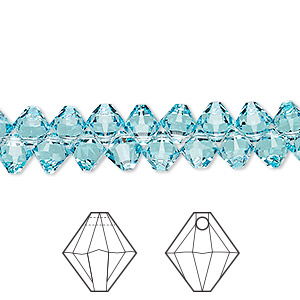 drop, swarovski crystals, crystal passions, light turquoise, 6mm xilion bicone pendant (6328). sold per pkg of 12.