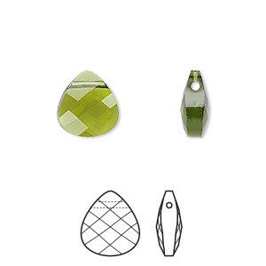 drop, swarovski crystals, crystal passions, olivine, 11x10mm faceted puffed briolette pendant (6012). sold per pkg of 24.