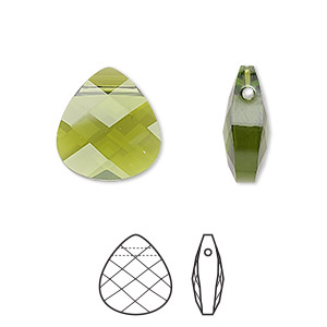 drop, swarovski crystals, crystal passions, olivine, 15x14mm faceted puffed briolette pendant (6012). sold per pkg of 24.