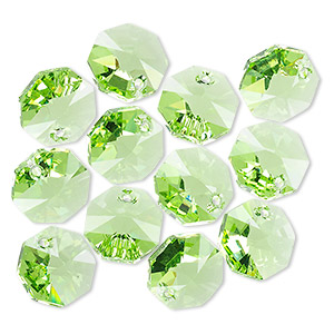 drop, swarovski crystals, crystal passions, peridot, 12x12mm faceted octagon pendant (6401). sold per pkg of 12.