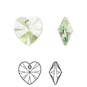 drop, swarovski crystals, crystal passions, peridot, 14x14mm faceted heart pendant (6202). sold individually.