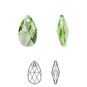 drop, swarovski crystals, crystal passions, peridot, 16x9mm faceted pear pendant (6106). sold individually.