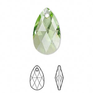 drop, swarovski crystals, crystal passions, peridot, 22x13mm faceted pear pendant (6106). sold per pkg of 24.