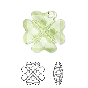 drop, swarovski crystals, crystal passions, peridot, 23mm faceted clover pendant (6764). sold individually.