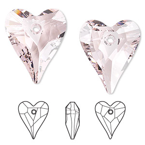drop, swarovski crystals, crystal passions, rosaline, 27x22mm faceted wild heart pendant (6240). sold per pkg of 24.