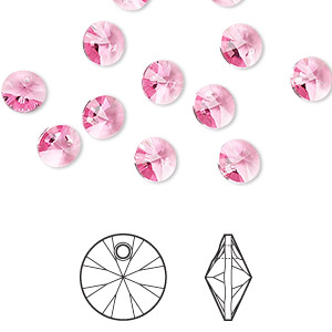 drop, swarovski crystals, crystal passions, rose, 6mm xilion rivoli pendant (6428). sold per pkg of 12.