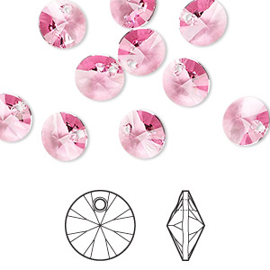 drop, swarovski crystals, crystal passions, rose, 8mm xilion rivoli pendant (6428). sold per pkg of 12.