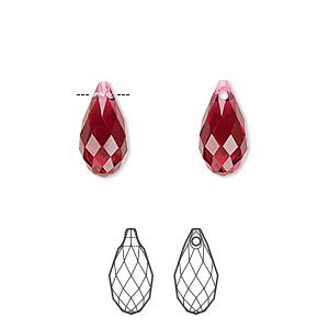 drop, swarovski crystals, crystal passions, scarlet, 13x6.5mm faceted briolette pendant (6010). sold individually.