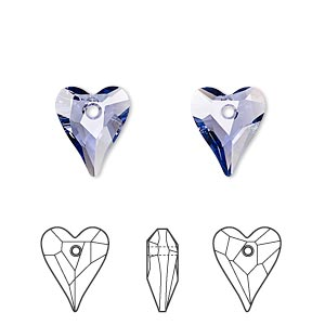 drop, swarovski crystals, crystal passions, tanzanite, 12x10mm faceted wild heart pendant (6240). sold per pkg of 2.