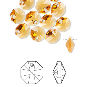 drop, swarovski crystals, crystal passions, topaz, 8x8mm faceted octagon pendant (6401). sold per pkg of 12.