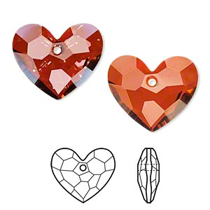 drop, swarovski crystals, crystal red magma, 28x23mm faceted truly in love heart pendant (6264). sold per pkg of 16.