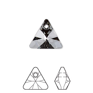 drop, swarovski crystals, crystal silver night, 16mm xilion triangle pendant (6628). sold per pkg of 72.