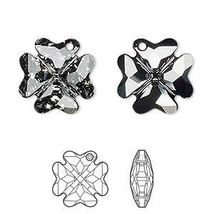 drop, swarovski crystals, crystal silver night, 19x19mm faceted clover pendant (6764). sold per pkg of 48.