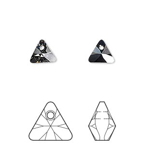 drop, swarovski crystals, crystal silver night, 8mm xilion triangle pendant (6628). sold per pkg of 288 (2 gross).