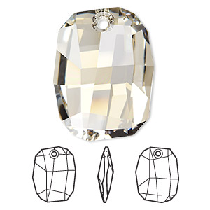 drop, swarovski crystals, crystal silver shade, 28x21mm faceted graphic pendant (6685). sold per pkg of 48.