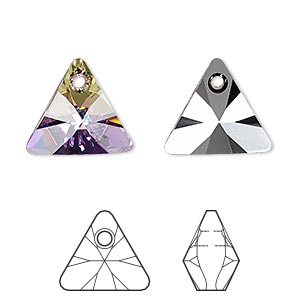 drop, swarovski crystals, crystal vitrail light p, 16mm xilion triangle pendant (6628). sold per pkg of 72.