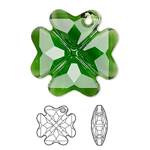 drop, swarovski crystals, dark moss green, 28mm faceted clover pendant (6764). sold per pkg of 16.