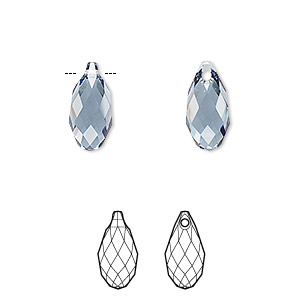 drop, swarovski crystals, denim blue, 13x6.5mm faceted briolette pendant (6010). sold per pkg of 144 (1 gross).
