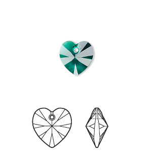drop, swarovski crystals, emerald, 10x10mm xilion heart pendant (6228). sold per pkg of 288 (2 gross).