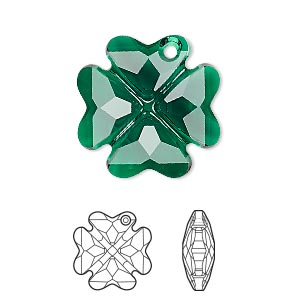 drop, swarovski crystals, emerald, 23mm faceted clover pendant (6764). sold per pkg of 24.