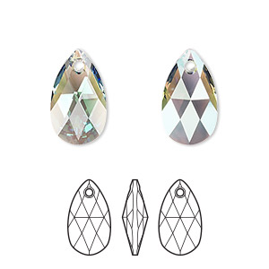 drop, swarovski crystals, erinite shimmer, 16x9mm faceted pear pendant (6106). sold per pkg of 144 (1 gross).