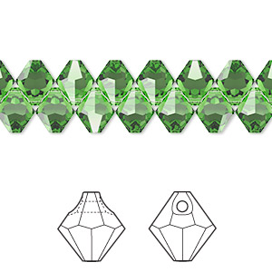 drop, swarovski crystals, fern green, 6mm faceted bicone pendant (6301). sold per pkg of 360.