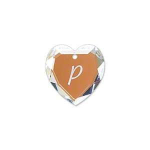 drop, swarovski crystals, glacier blue, 18mm heart with alphabet letter p (6227). sold individually.